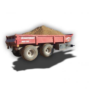 Žemaitukas sunkių krovinių puspriekabė prie traktoriaus statyboms